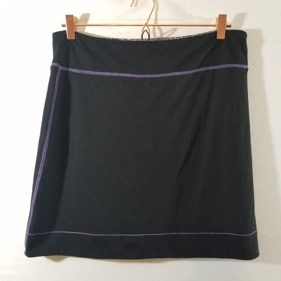 Free People Dresses & Skirts - Free People Black Purple Stich Stretch Skirt Sz L